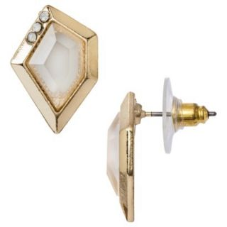 Irregular Shape Earrings with Stone   Gold/Ivory