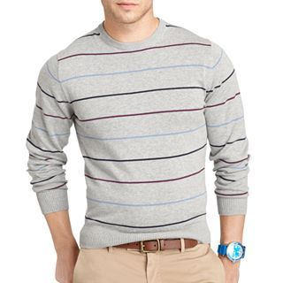 IZOD Fine Gauge V Neck Sweater, Grey, Mens