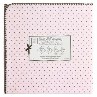 Swaddle Designs Ultimate Receiving Blanket   Pink/ Brown Polka Dots