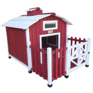 Country Barn Red Wooden Dog House, 41 L 31 W X 12 H