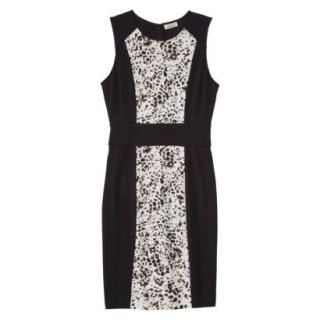 AMBAR Womens Ponte Leopard Print Dress   Ebony XS