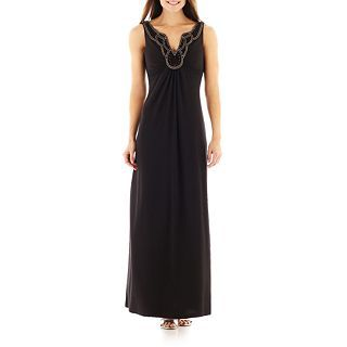Ronnie Nicole Sleeveless Beaded Maxi Dress, Black, Womens