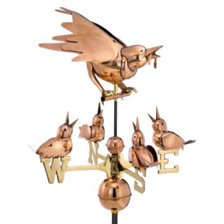 Good Directions Mother Bird & Chicks Weathervane   Polished Copper