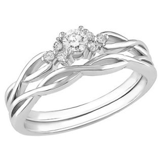 10K White Gold Diamond Bridal Set Silver 6.0