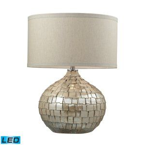 Dimond Lighting DMD D2264 LED Canaan Ceramic Table Lamp with a Light Beige Linen