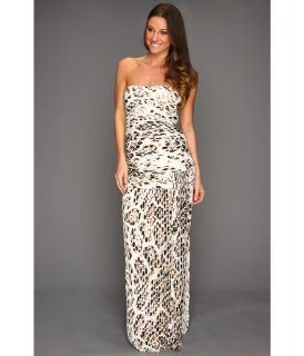Halston Heritage Strapless Pleated Gown with Leg Slit Womens Dress (Animal Print)