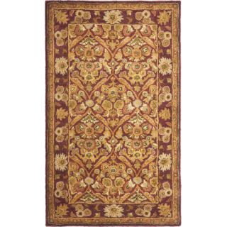 Safavieh Antiquities Garden Panel Wine/Gold Rug AT51A Rug Size 5 x 8