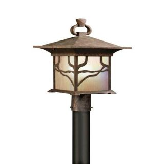 Kichler 9920DCO Outdoor Light, Arts and Crafts/Mission Post Mount 1 Light Fixture Distressed Copper