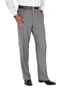 Paul Fredrick Mens 100% Wool Flannel Glen Plaid Flat Front Pants