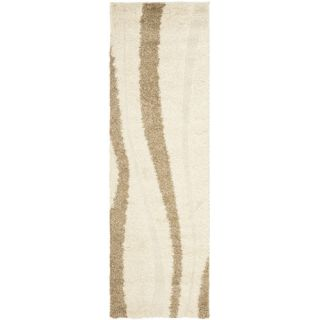Safavieh Florida Shag Crème/Dark Brown Rug SG451 1128 Rug Size Runner 23 x 7