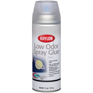 Low Odor 11 oz Spray Glue (White (clear when dry)Coverage 25 to 45 square feet This aerosol spray glue forms a strong and permanent bond that goes on white for visible coverage yet dries crystal clearItems are movable while glue is wet but permanent once