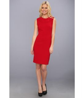 Nicole Miller Neck Detail Stretch Crepe Dress Womens Dress (Red)
