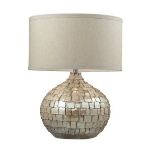 Dimond Lighting DMD D2264 Canaan Ceramic Table Lamp with a Light Beige Linen Sha