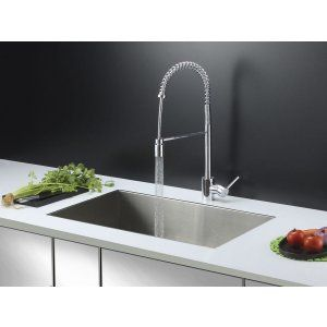 Ruvati RVC2601 Combo Stainless Steel Kitchen Sink and Chrome Faucet Set