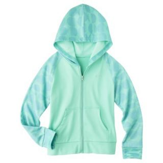 C9 by Champion Girls Tech Fleece Full Zip Hoodie   Spring Green L