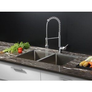 Ruvati RVC1311 Combo Stainless Steel Kitchen Sink and Chrome Faucet Set