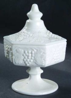 Imperial Glass Ohio Vintage Grape Milk Glass Footed Candy Dish with Lid   Milk G