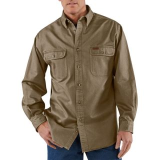 Carhartt Heavyweight Cotton Shirt   Long Sleeve (For Men)   DARK BROWN (XL )