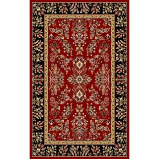 Lyndhurst Collection Red/ Black Rug (4 X 6)