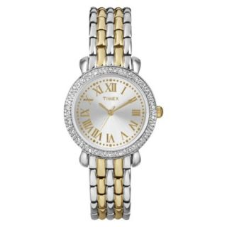 Timex Womens Two Tone Watch with Crystal Bezel and Roman Numeral Markers