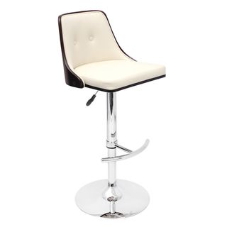 Nueva Wenge Wood Adjustable Barstool (Dark wenge wood, cream seatMaterials Wood, PU, foam, chromeUpholstery material LeatheretteUpholstery color CreamHardware finish Chrome base, pole and footrestNumber of Stools OneSeat height Adjusts from 27 to 32