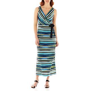 Danny & Nicole Sleeveless Striped Maxi Dress, Blue