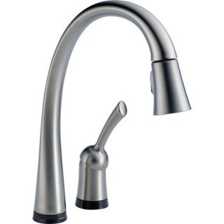 Delta 980TARDST Pilar Collection Single Handle PullOut Kitchen Faucet, Touch20 Technology Arctic Stainless