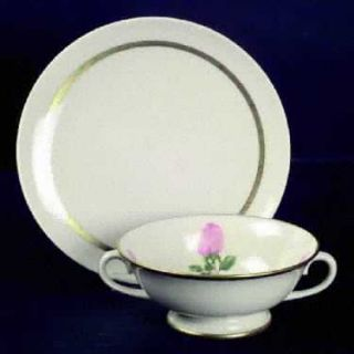 Franciscan Cherokee Rose Wide Gold Band Footed Cream Soup Bowl & Saucer Set, Fin