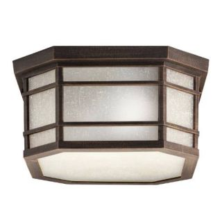 Kichler 9811PR Outdoor Light, Arts and Crafts/Mission Flush Mount 3 Light Fixture Prairie Rock