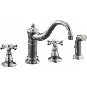 Kohler K 158 3 CP Antique Two Handle Kitchen Faucet with Sidespray