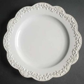 Simply Shabby Chic Chateau Dinner Plate, Fine China Dinnerware   All White,Embos