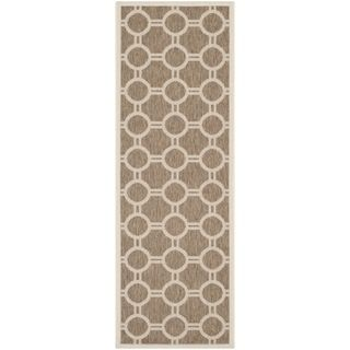Safavieh Indoor/ Outdoor Courtyard Brown/ Bone Geometric Rug (23 X 67)