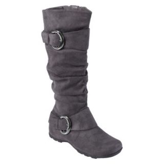 Womens Bamboo By Journee Slouchy Buckle Boots   Grey 8W