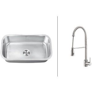 Ruvati RVC2496 Combo Stainless Steel Kitchen Sink and Chrome Faucet Set