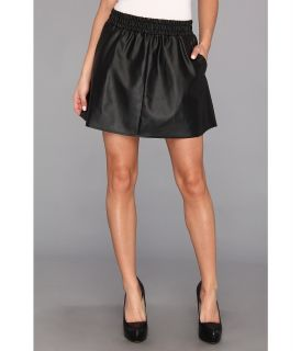 BCBGMAXAZRIA Laika Leather Mini Skirt Womens Skirt (Black)