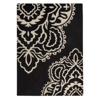 Threshold Exploded Damask Area Rug   Black (7x10)