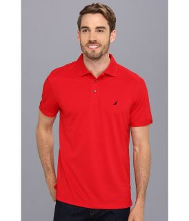 Nautica Solid Tech Pique Shirt Mens Short Sleeve Pullover (Red)