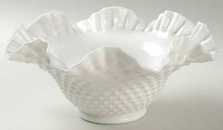 Fenton Hobnail Milk Glass Crimped Bowl   Milk Glass
