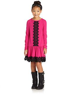 Juicy Couture Girls Lace Trim Dress   Rose