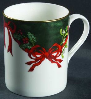 Royal Worcester Holly Ribbons Green Mug, Fine China Dinnerware   Garrick Shape,G