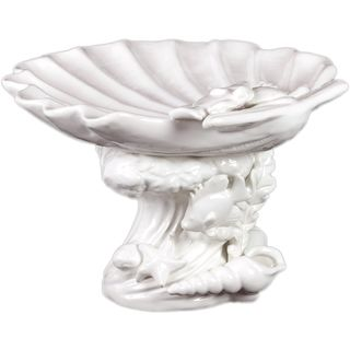 Urban Trends Collection Decorative White Ceramic Seashell Platter (10.43 inches long x 10.94 inches wide x 7.28 inches highModel 40018For decorative purposes onlyDoes not hold water CeramicSize 10.43 inches long x 10.94 inches wide x 7.28 inches highMod