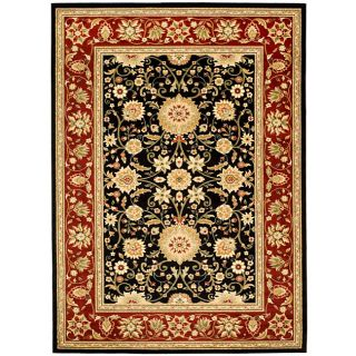 Lyndhurst Collection Majestic Black/ Red Rug (8 X 11)