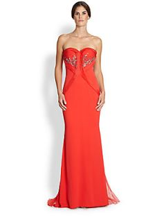 Badgley Mischka Strapless Stretch Silk Gown   Flame