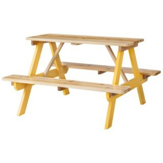Room Essentials Kids Wood Patio Picnic Table   Yellow