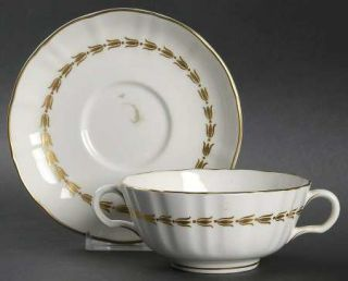 Royal Worcester Lotus Gold/White Footed Cream Soup Bowl & Saucer Set, Fine China