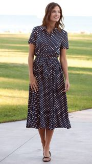 Navy Polka dot Dress / Regular, 4