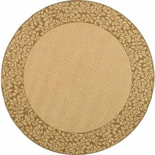 Indoor/ Outdoor Natural/ Brown Rug (67 Round) (IvoryPattern BorderMeasures 0.25 inch thickTip We recommend the use of a non skid pad to keep the rug in place on smooth surfaces.All rug sizes are approximate. Due to the difference of monitor colors, some