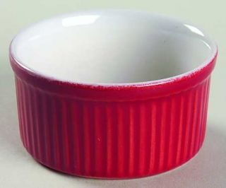 Emile Henry Cerise (Red) Ramekin, Fine China Dinnerware   Red And White, Undecor