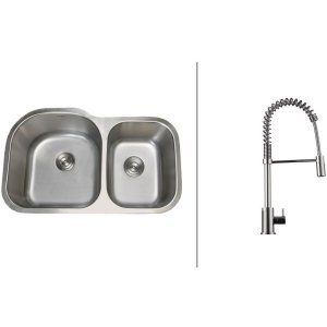 Ruvati RVC2531 Combo Stainless Steel Kitchen Sink and Chrome Faucet Set