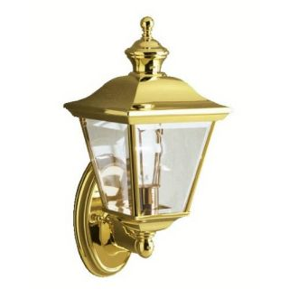 Kichler 9713PB Outdoor Light, Classic (Formal Traditional) Wall 1 Light Fixture Polished Brass